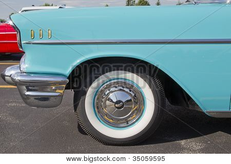 Powder Blue & White 1957 Chevy Bel Air Side View Close
