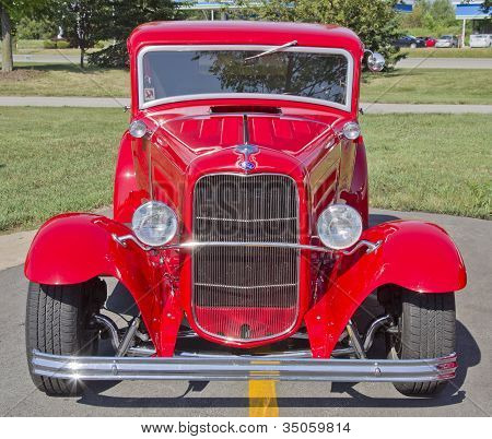 Old Red Ford Hot Rod Front