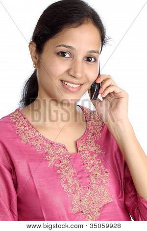Portrait Of Young Woman Talking On Cellphone