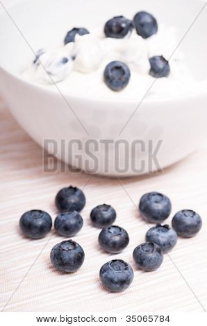 Blue Bilberries In Front Of A White Bowl