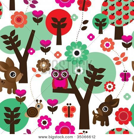 Seamless farm owl tree animal kids pattern background in vector
