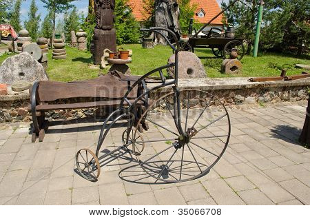 Retro Vintage Rusty Steel Bicycle Imitation Park