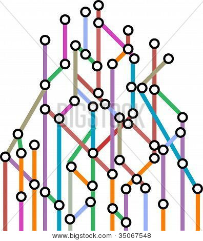 Abstract Background Of A Subway Map. Vector