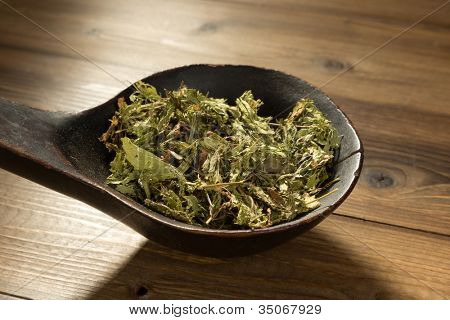 Old wooden spoon filled with natural sweetener dried stevia