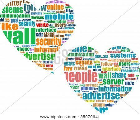 Social Media Theme In Heart Set