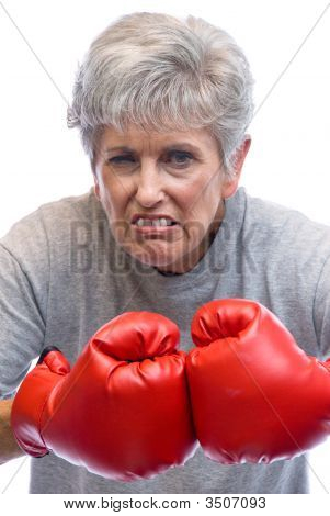 Grandmother And Boxing Gloves