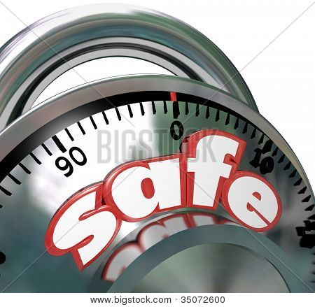 The word Safe on a shiny metal combination lock giving you peace of mind that your assets are protected and have security from risk