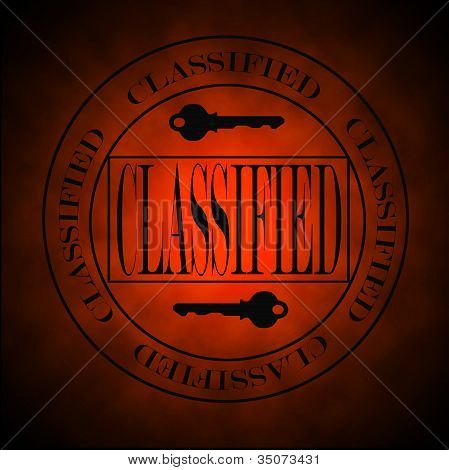 Glowing Red Classified Symbol Or Stamp