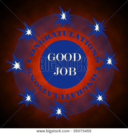 Congratulations Sign, Symbol Or Stamp With Good Job And Stars