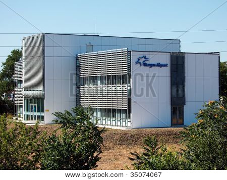 Building bearing the logo of Sarafovo Airport