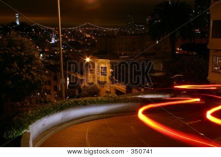 Car Going Down Lombard Street