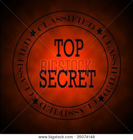 Glowing Red Classified Top Secret  Symbol Or Stamp