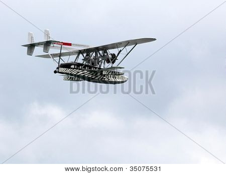 ST. WOLFGANG, AUSTRIA - JULY 7: The Sikorsky S-38 was an American twin-engined 8-seat amphibious aircraft. Rare oldtimer in Air Challenge on July 7, 2012 in St. Wolfgang.