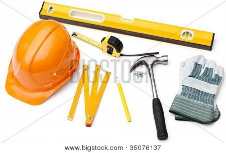 Hard hat, pencil, line, hammer, nails, gloves, tape measure, level, isolated on white