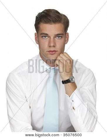 Studio photo of handsome young man in white shirt and necktie on white background