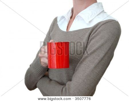 Girl With Red Coffee Cup