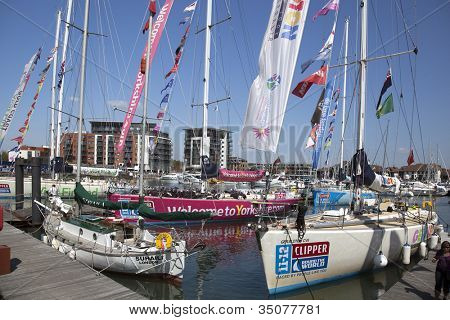 OCEAN VILLAGE, SOUTHAMPTON UK - JULY 22: Clipper Round the World Yacht Race. The competitors yachts arrive in Southampton. 22 July 2012