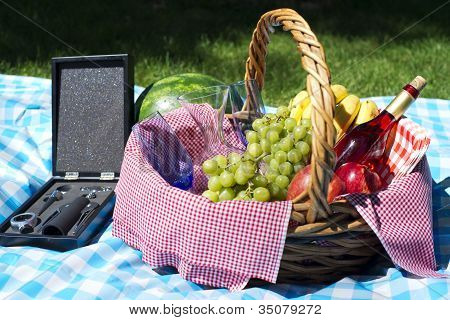 Picnic Basket With Blue Cloth