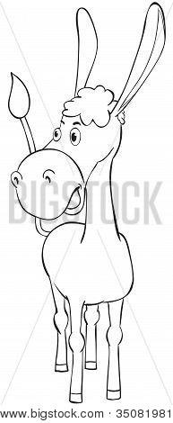 Fun Outline Donkey