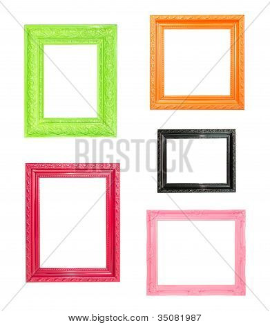 Pink Vintage Picture Frame On Blue Wood Background