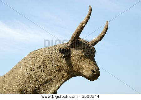 Statue Of A Bull In The Camargue