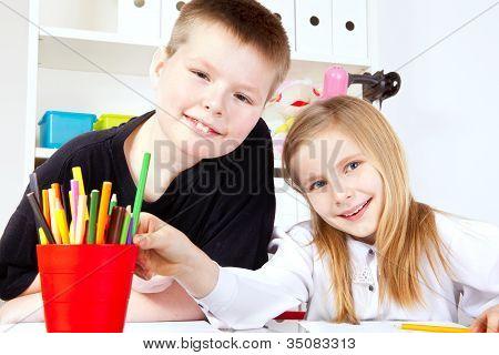 Two Small Children In School