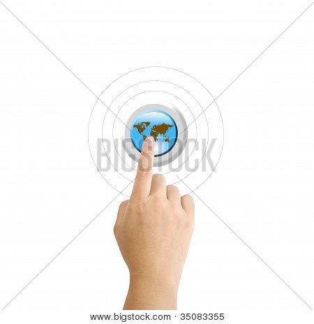 Girl Hand Pressing A Globe Button With Index Finger Extended,