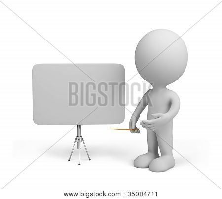 3D Person With Empty Board