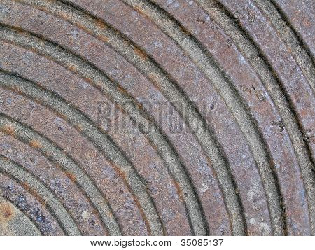 Abstract Rusty Metall Surface With Round Rings, Construction Industry