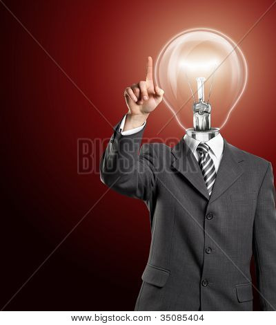 Lamp head business man push the button on virtual touch pad