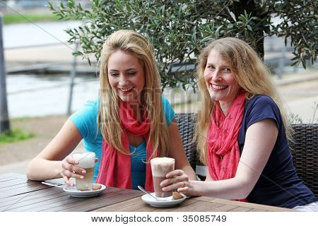 Two Female Friends Relaxing Over Drinks