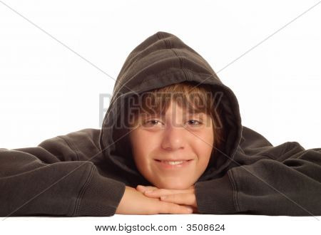 Young Teen With Black Hoodie On Head
