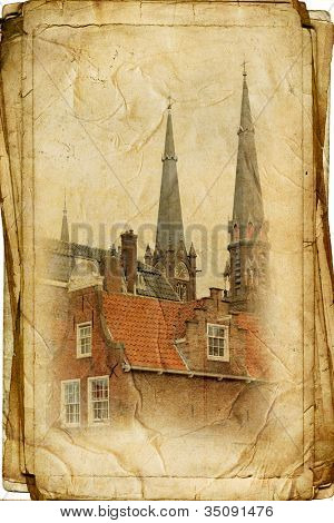 views of Dutch city of Delft vintage style, like postcards