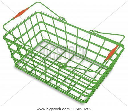 Green Shopping Hand Basket Vector