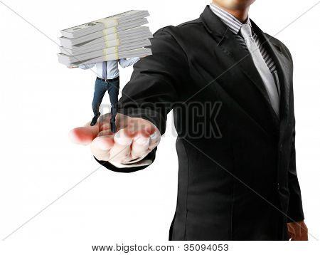 business millionaire over white dollars
