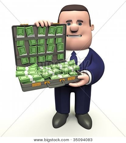 Man with briefcase of money. 3d illustration