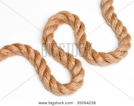 Climbing up sport rope image isolated on white