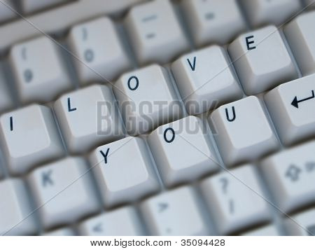 Computer keyboard key text closeup