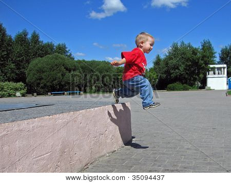 Little child jump long