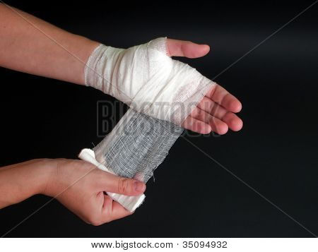 White medicine bandage on human injury hand