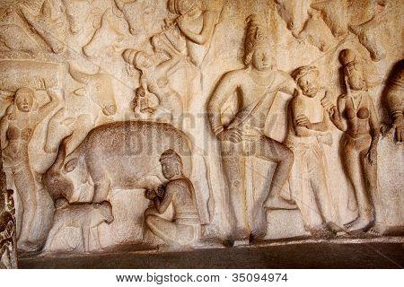 Krishna Mandapum, Bas-relief In Mammallapuram, India