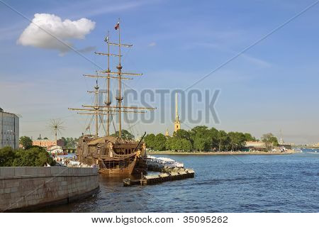 Views Of The Waters Of The River Neva, Sailboat And Castle In St. Petersburg