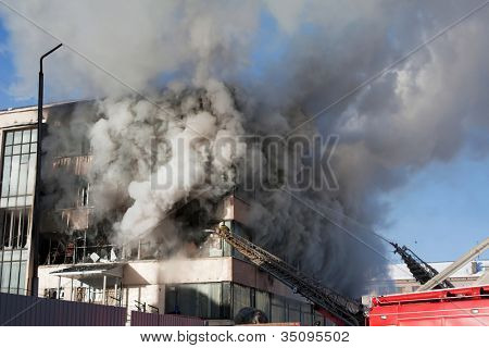 Burning fire smoke firefighter emergency service