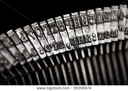 Old text typing typewriter letter typebar isolated