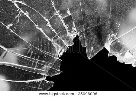 Accident cracked damaged broken house window glass