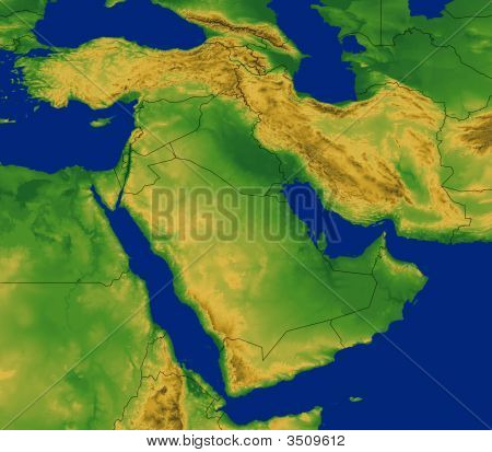 Middle East Region Map With Terrain