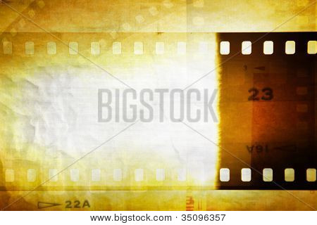Grungy film negative background, copy space