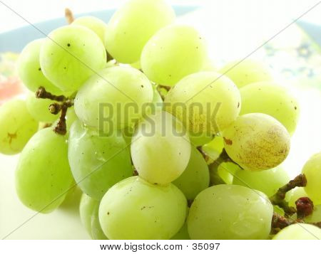 Green Grapes On A Plate