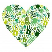 Go Green Hands Love Heart