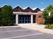 image of school building  - exterior entrance doors for a modern school - JPG